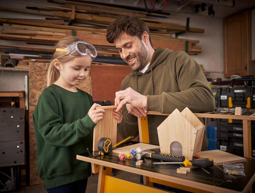 Stanley® Jr. Wooden Diy Bird Feeder Kit Application Shot