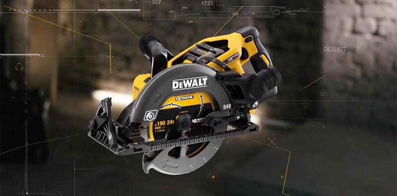 Backlit DEWALT circular saw