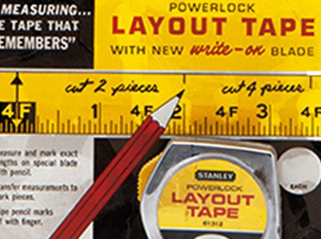 STANLEY layout of the PowerLock® Tape Rule package for its introduction in the year 1963.